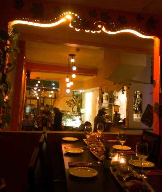 Mirror reflecting restaurant lights